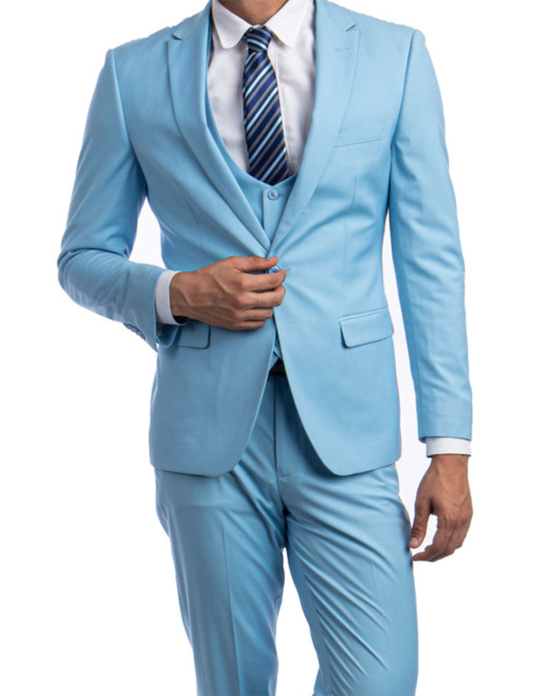 Sky Blue Solid Color 3 Piece Slim Fit Suit 1 Button Peak Lapel