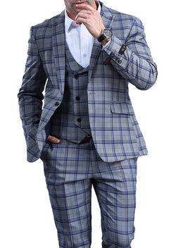 Blue Slim Fit 3 Piece Suit Check Pattern