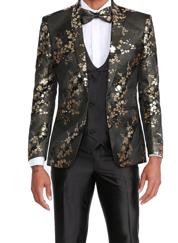 Gold Slim Fit Tuxedo 4 Piece Floral Design with Bow Tie