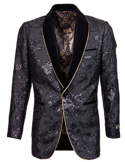 Empire Collection - Slim Fit Black Shawl Collar Sports Coat with Gold Trim