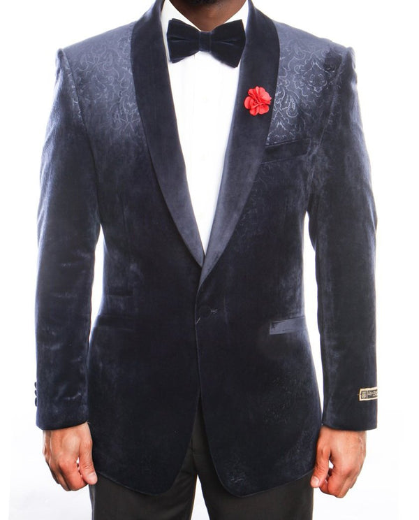 Empire Collection - Velvet Regular Fit Vintage Floral Blazer in Navy - SUITS FOR MENS