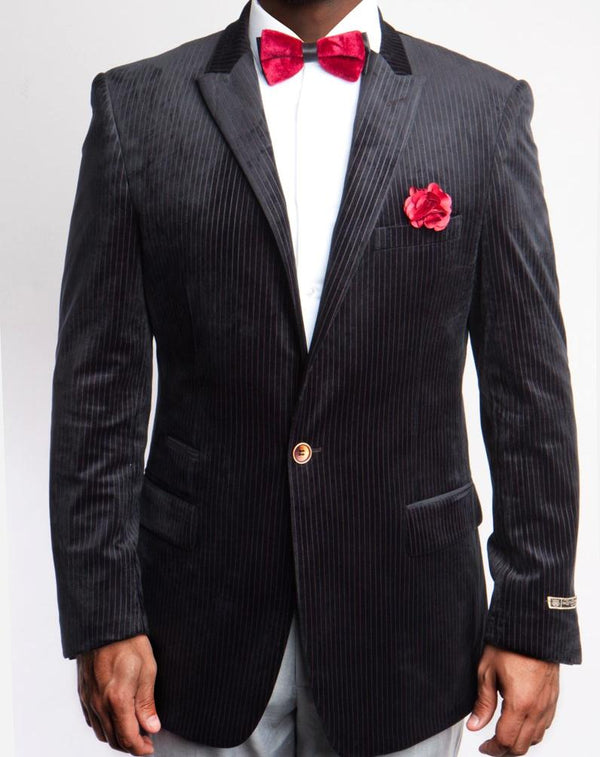 Empire Collection - Black Velvet Stripe Sports Coat Modern Fit - SUITS FOR MENS