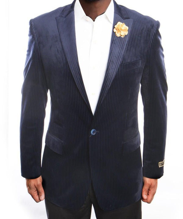 Empire Collection - Navy Velvet Stripe Sports Coat Modern Fit - SUITS FOR MENS