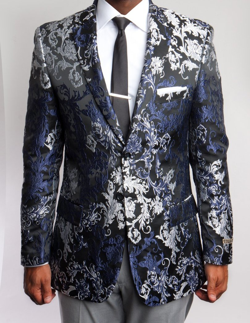 Mens Modern Fit Blazer Black and Silver Floral Print Sports coat