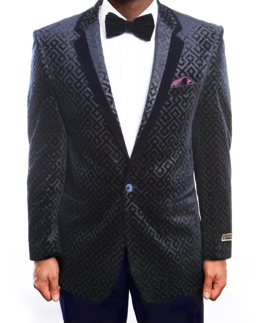 Empire Collection - Vintage Pattern Sports Coat Regular Fit Navy and Black - Mens Suits