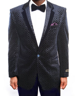 Empire Collection - Vintage Pattern Blazer Regular Fit Navy - SUITS FOR MENS
