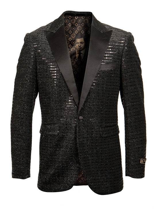 Empire Collection - Black Sequin Texture Design Sports Coat Slim Fit - SUITS FOR MENS