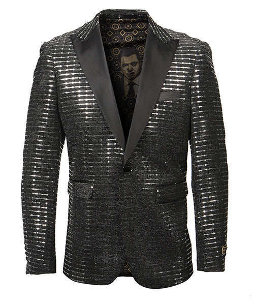 Empire Collection - Silver Sequin Texture Design Sports Coat Slim Fit - SUITS FOR MENS