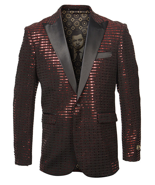 Empire Collection - Red Sequin Texture Design Sports Coat Slim Fit - SUITS FOR MENS