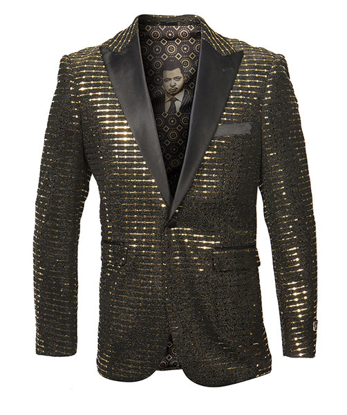 Empire Collection - Gold Sequin Texture Design Sports Coat Slim Fit in Black - SUITS FOR MENS