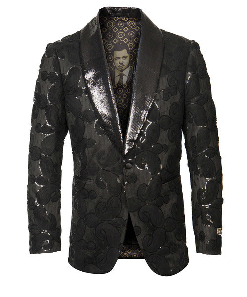 Empire Collection - Black Sequin Shawl Collar Sports Coat Slim Fit - SUITS FOR MENS