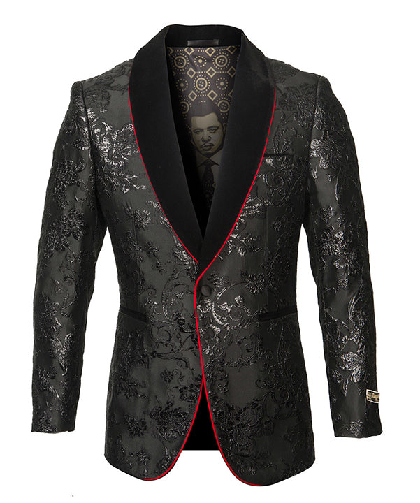 Empire Collection - Black Satin Shawl Collar Sports Coat Slim Fit - SUITS FOR MENS