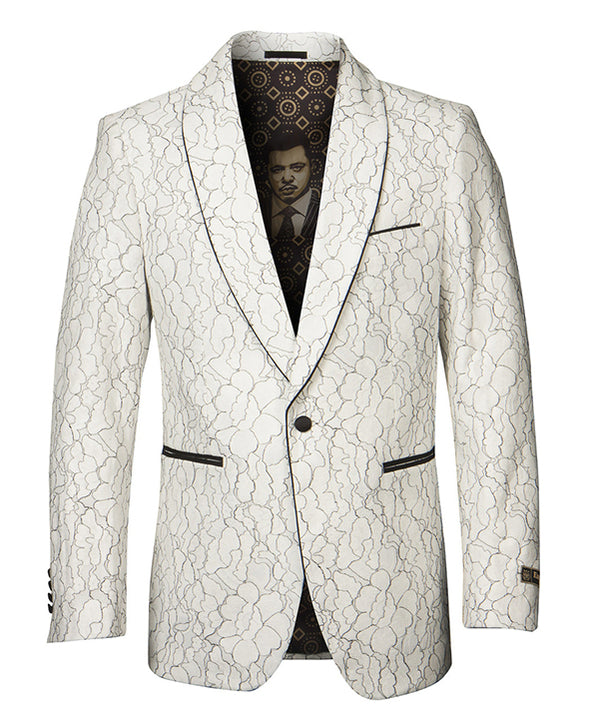 Empire Collection - White Floral Solid Pattern Sports Coat Slim Fit - SUITS FOR MENS