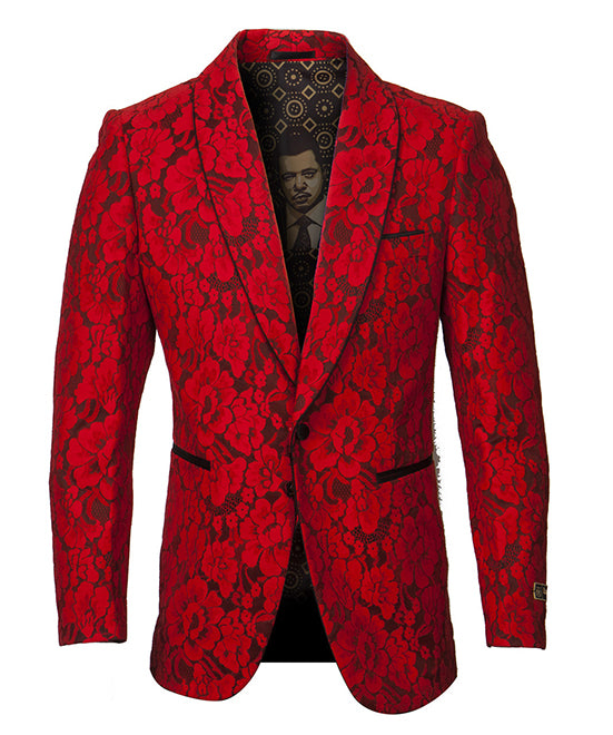 Empire Collection - Red Floral Solid Pattern Sports Coat Slim Fit - SUITS FOR MENS
