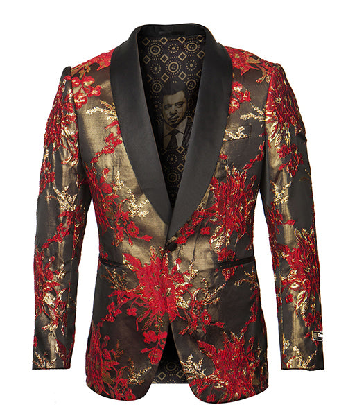 Empire Collection - Red Floral Pattern Sports Coat Slim Fit - SUITS FOR MENS
