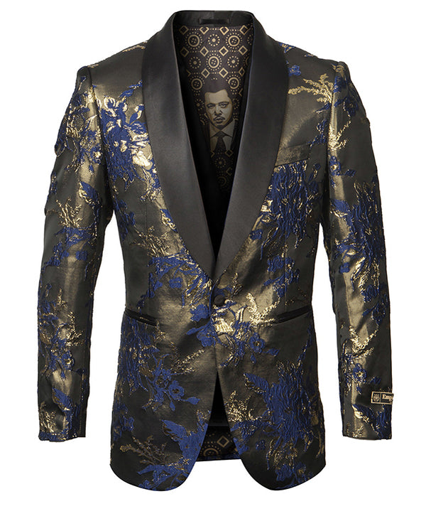 Empire Collection - Blue Floral Pattern Sports Coat Slim Fit - SUITS FOR MENS