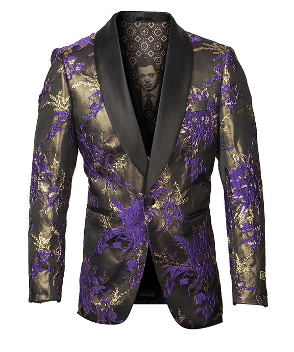 Empire Collection - Purple Floral Pattern Sports Coat Slim Fit - SUITS FOR MENS