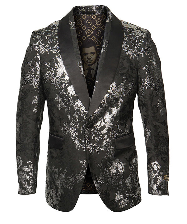 Empire Collection - Black/Silver Floral Pattern Sports Coat Slim Fit - SUITS FOR MENS