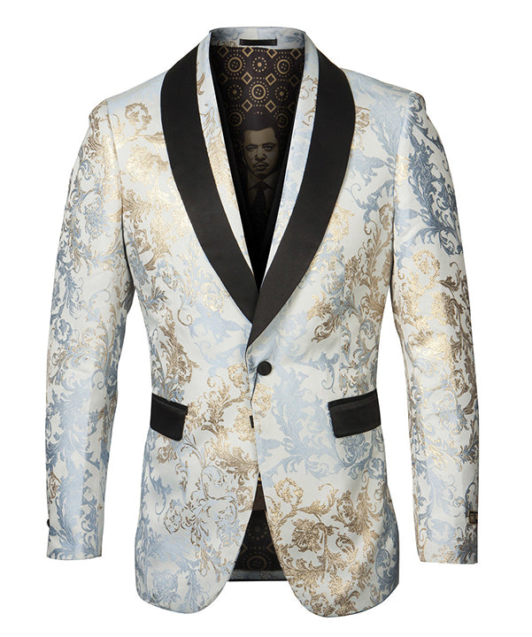 Empire Collection - Blue/Gold Floral Pattern Sports Coat Slim Fit - SUITS FOR MENS