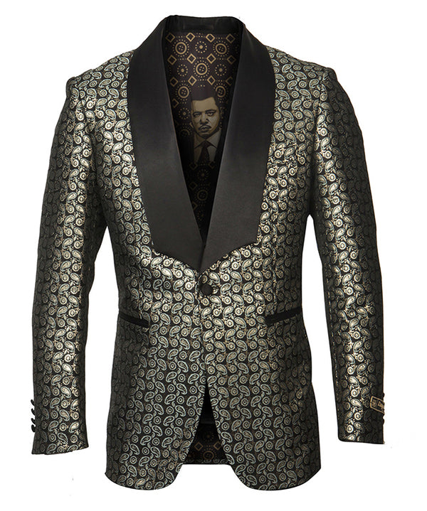 Empire Collection - Gold Paisley Pattern Shawl Collar Sports Coat Slim Fit - SUITS FOR MENS