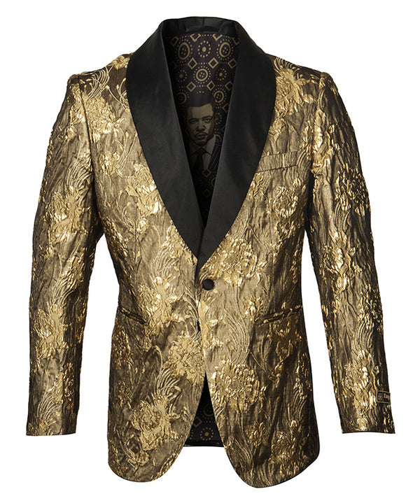Empire Collection - Gold Floral Pattern Shawl Collar Sports Coat Slim Fit - SUITS FOR MENS