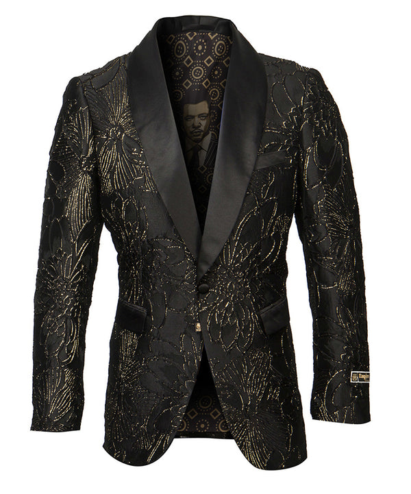 Empire Collection - Floral Pattern Shawl Collar Sports Coat Slim Fit - SUITS FOR MENS