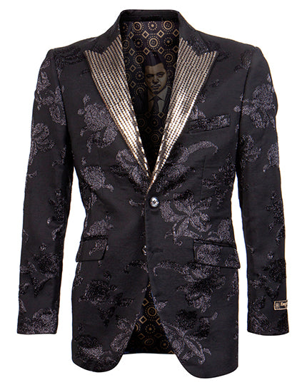 Empire Collection - Black Slim Fit Formal Dinner Show Blazer with Gold Sequin Lapel