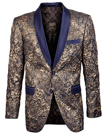 Empire Collection - Slim Fit Formal Dinner Show Blazer in Gold/Navy