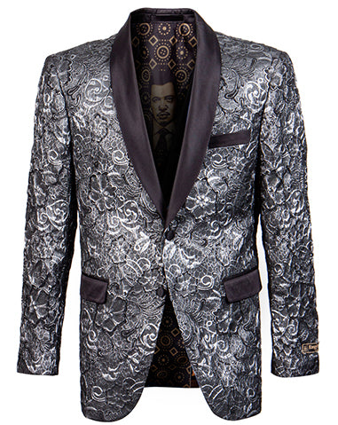 Empire Collection - Slim Fit Formal Dinner Show Blazer in Silver/Black