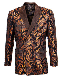 Empire Collection - Slim Fit Rust Paisley Pattern Double Breasted Blazer