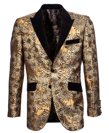 Empire Collection - Slim Fit Gold Floral Pattern Blazer