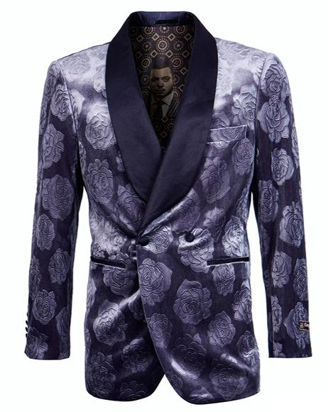Empire Collection - Slim Fit Royal Blue Floral Pattern Double Breasted Blazer