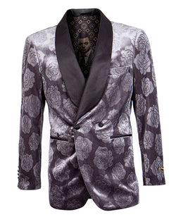 Empire Collection - Slim Fit Charcoal Floral Pattern Double Breasted Blazer