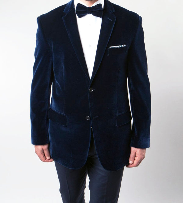 Men's Regular Fit Blazer 2 Button with One Welt Chest Pocket Navy - SUITS FOR MENS