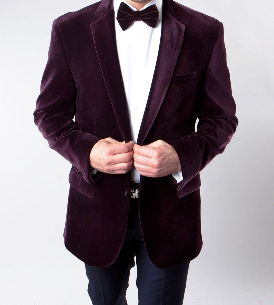 Dinner Sports Coat Regular Fit 2 Buttons in Wine - Mens Suits