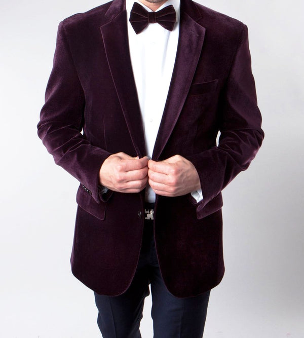 Men's Regular Fit Blazer 2 Button with One Welt Chest Pocket Wine - SUITS FOR MENS