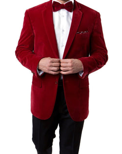 Men's Regular Fit Blazer 2 Button with One Welt Chest Pocket Red - SUITS FOR MENS