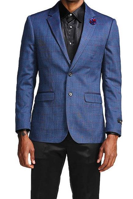 Slim Fit Windowpane Blazer 2 Button in Blue - SUITS FOR MENS