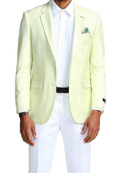 Slim Fit Blazer 2 Button in Solid Mint - SUITS FOR MENS