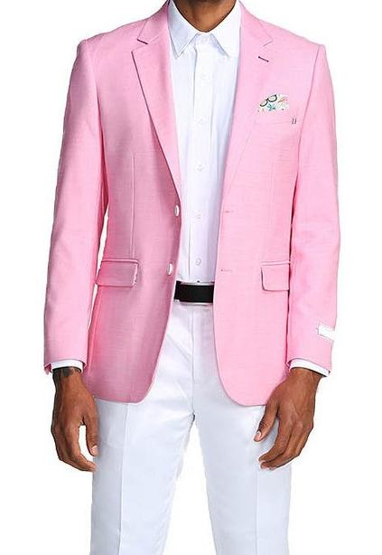 Slim Fit Blazer 2 Button in Solid Pink