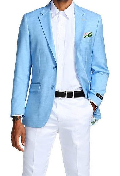 Slim Fit Blazer 2 Button in Solid Sky Blue - SUITS FOR MENS