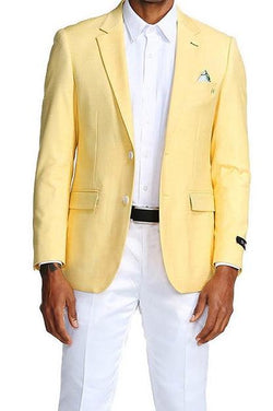 Slim Fit Blazer 2 Button in Solid Lemon Yellow