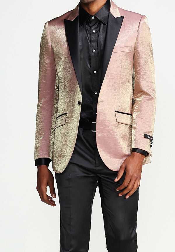 Slim Fit Shine Blazer 1 Button with Satin Peak Lapel in Rose