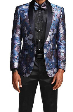 Slim Fit Floral Pattern Blazer Satin Shawl Collar with Bow Tie in Blue - SUITS FOR MENS