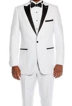 Slim Fit 2 Piece White Tuxedo With Satin Peak Lapel - SUITS FOR MENS