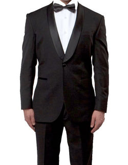 Black Slim Fit Tuxedo With Satin Shawl Lapel 1 Button - SUITS FOR MENS