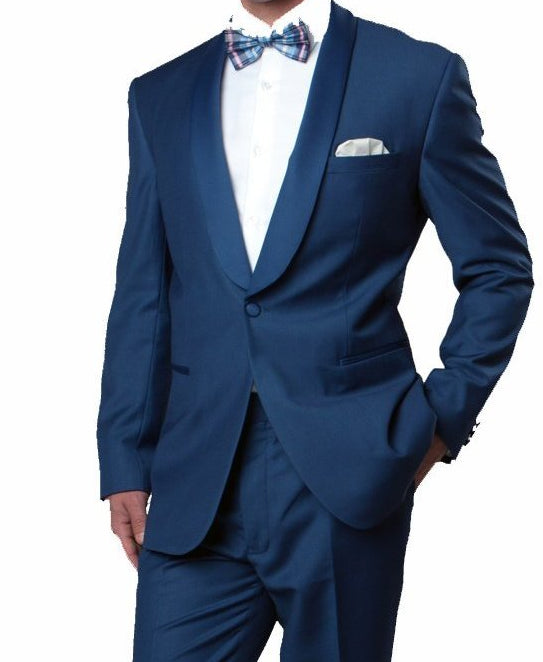 Blue Slim Fit Tuxedo With Satin Shawl Lapel 1 Button 2 Pieces - Mens Suits
