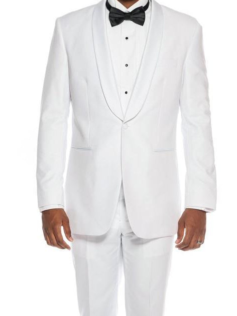 White Slim Fit Tuxedo With White Satin Shawl Lapel 2 Pieces - SUITS OUTLETS