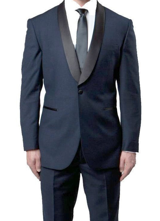 Navy Slim Fit Tuxedo With Black Satin Shawl Lapel 1 Button Design 2 Pieces