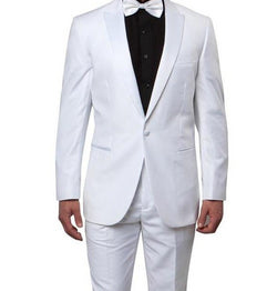 Slim Fit 2 Piece White Tuxedo With White Satin Peak Lapel - SUITS FOR MENS
